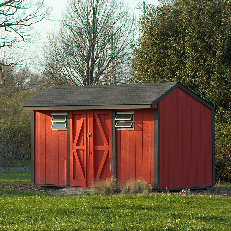 Red Shed on Lawn